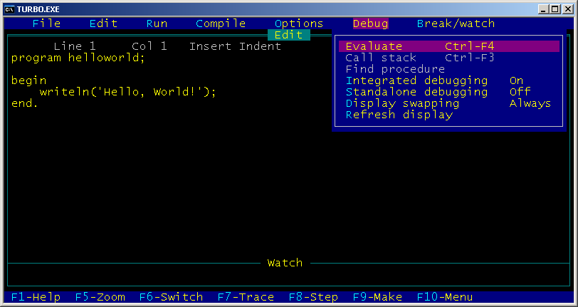 Turbo Pascal 5.0 screenshot