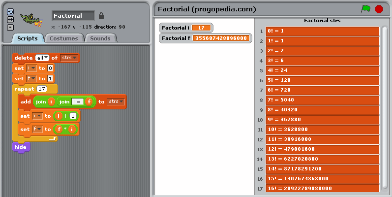 Factorial example in Scratch