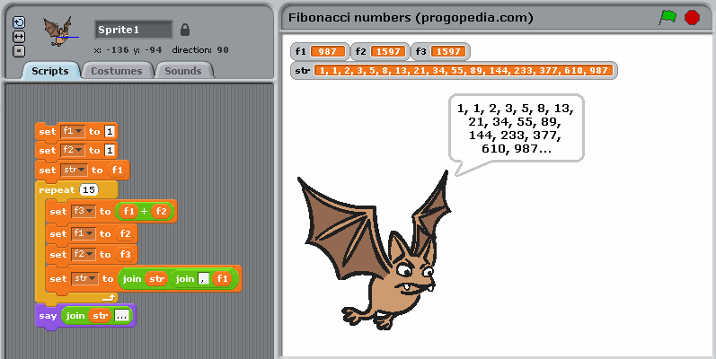 Fibonacci numbers example in Scratch