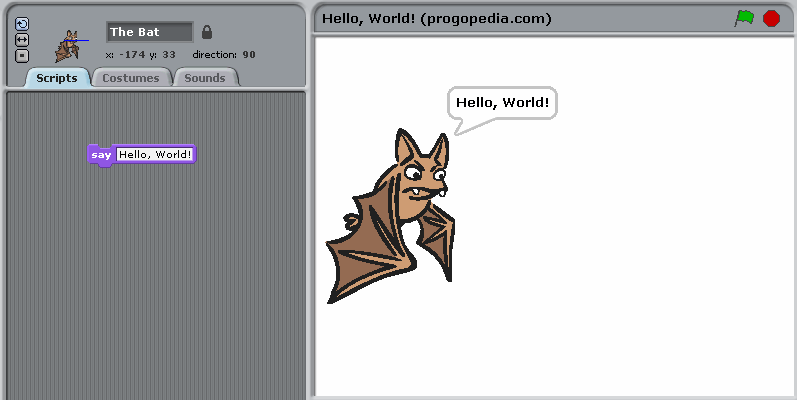 """Hello, World!"" example in Scratch"