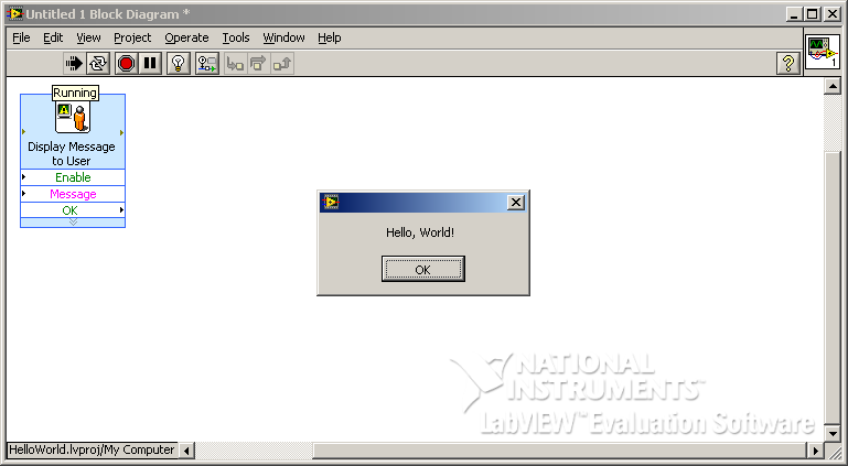 """Hello, World!"" example in G/LabVIEW"